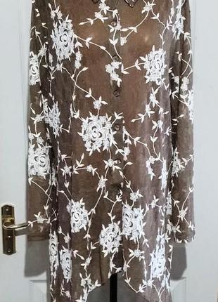 Кружевная рубашка удлиненная по бокам . с биркой