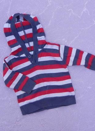 Хлопковая кофточка свитер с капюшоном cherokee 6-9 месяцев 74 см