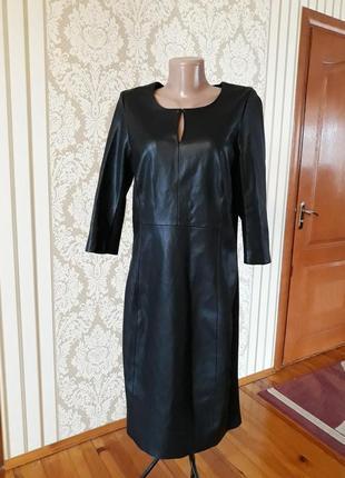 Оригинальное кожаное комбинированое  чёрное  платье  футляр 👍🏻👍🏻👍🏻