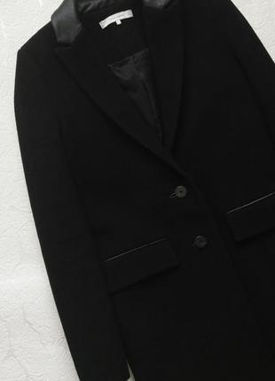 Пальто бойфренд чёрное шерстяное пиджак zara
