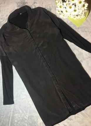 Шелковая удлинённая рубашка, можно как платье от hallhuber