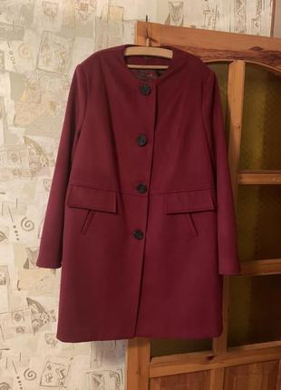 Пальто весна-осень кашемировое кашемир большой размер батал марсала
