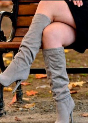 Замшевые сапоги на каблуке