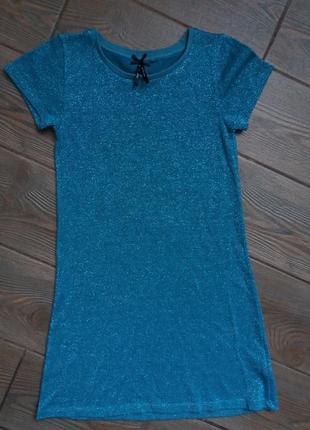Шикарное платье next 7-8лет 122_128см люрекс в отличном состоянии