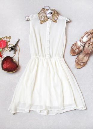 Нежное воздушное платье missguided, воротник золото, пайетки, шифон, цвет айвари, молоко