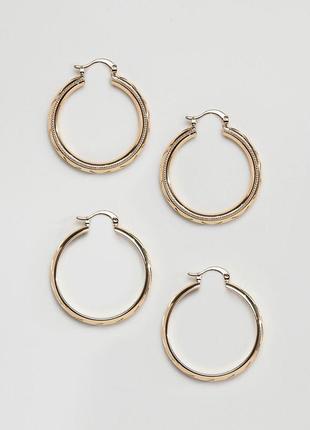 Набор из 2 пар сережек-колец asos design сережки бижутерия asos