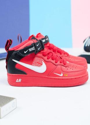 Шикарные женские кроссовки nike air force 1 high red 😍 (весна/ лето/ осень)
