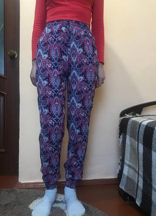 Тонкі котонові неприталенні штани голіфе висока посадка