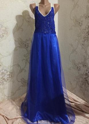 0b89d01de8ac17c Шикарное вечернее платье с кружевом и фатиновой юбкой цвета электрик от asos