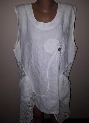 Блуза туника лен sarah santos made in italy идеальное состояние