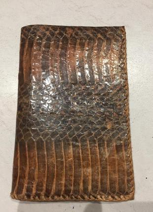 Кожаный кошелек, портмон, обложка для документов из натуральной кожи потона