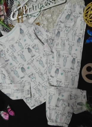 5-6лет.пижамка в котики marks&spencer mега выбор обуви и одежды