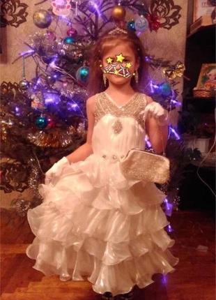 Платье для девочки белое пышное в рюши бальное выпускное нарядное