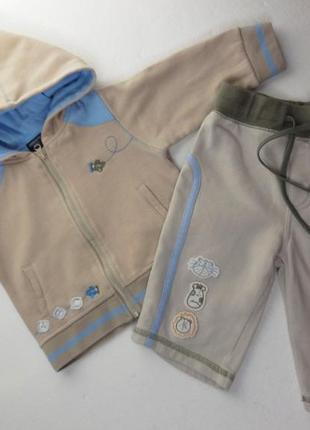 Трикотажный спортивный костюм на баечке. 68 размер. 3-6 месяцев. капюшон.