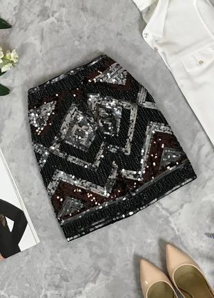 Короткая юбка расшитая паетками  ki1910157  h&m