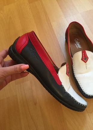 Кожаные туфли мокасины gabor