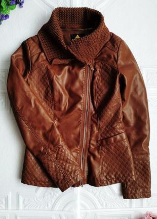 Демисезонная куртка косуха утепленная, из экокожи