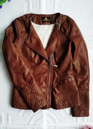 Демисезонная куртка косуха утепленная, из экокожи4 фото
