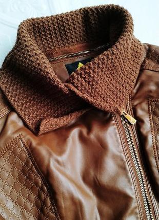 Демисезонная куртка косуха утепленная, из экокожи2 фото