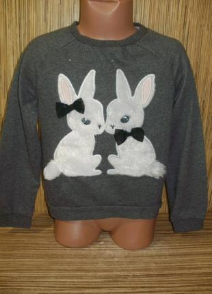 Свитшот с кроликами на 5-6 лет