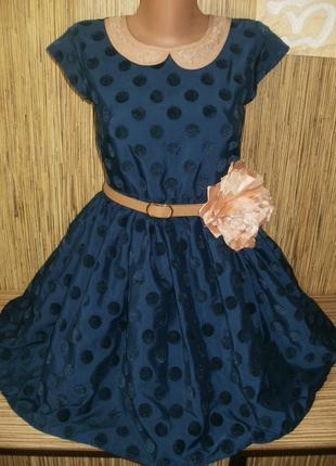 Стильное нарядное платье в горошек на 13 лет