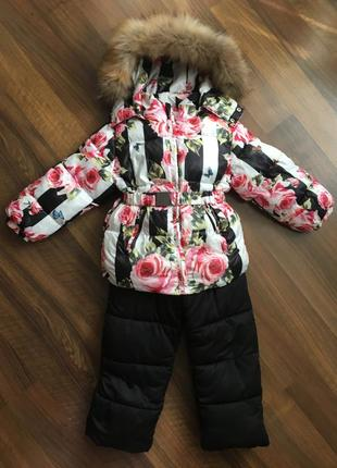 Зимний комплект для девочки комбинезон куртка 3 - 4 года натуральный мех