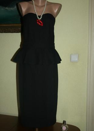 29655ecafbe Вечернее коктейльное черное классическое элегантное платье с баской sisley