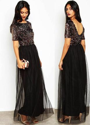 Шикарное вечернее платье макси с пышной юбкой и пайетками, размер - 38 - 40 eur