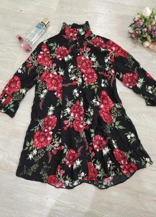 Рубашка туника в цветочный принт