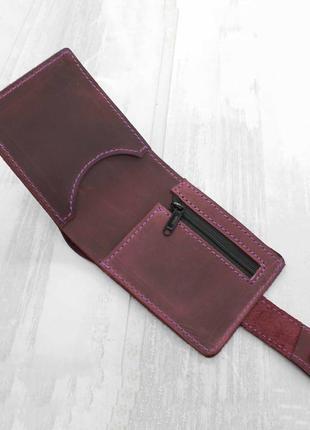 Портмоне кошелёк из кожи фиолетовый nine