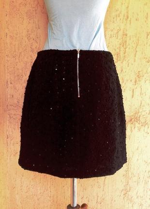 Черная буклированная юбка в паетках, м.