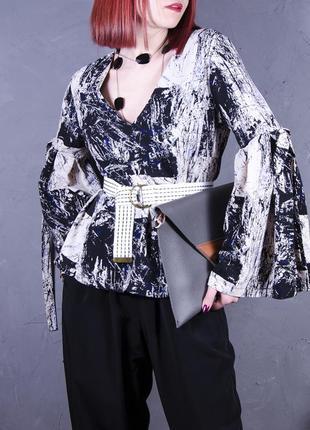 Утонченная блуза с геометрическим принтом, руашка с рукавами-клеш topshop