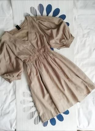 Бежевое хлопковое платье с объемными рукавами короткое мини свободное сукня viva