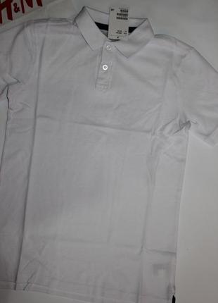 Хлопковая  футболка поло h&m р158-164, 12-14 лет4 фото