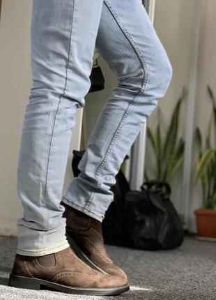 Крутые ботинки челси оксфорд замш