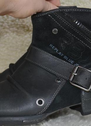 Replay blue jeans 41р ботинки кожаные оригинал. ковбойские