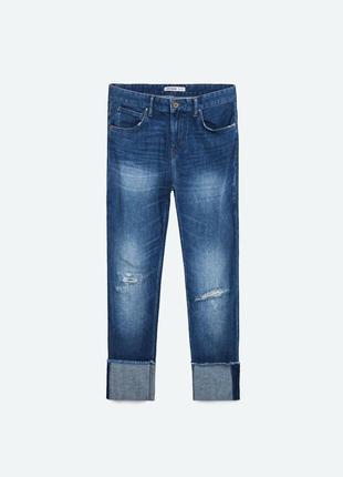 Укороченные джинсы с подворотами zara