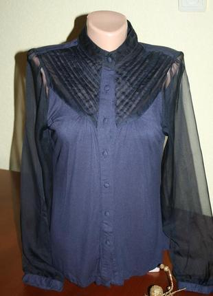 Элегантная трикотажная блуза-рубашка с рукавами из органзы next