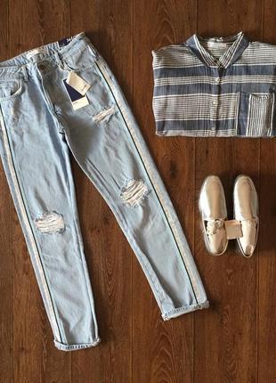 Новые рваные джинсы zara с лампасами