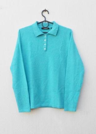 Бирюзовый 100% кашемировый шерстяной весенний зимний свитер поло с длинным рукавом