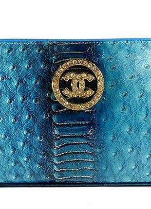 Косметичка кожаная женская клатч синяя