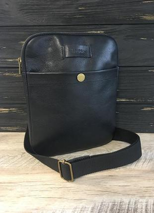 Мужская кожаная сумка планшетка vittorio safino,через плечо, чоловіча сумка