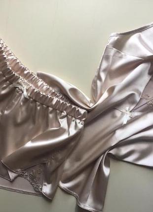 Пижамка шелк с королевским кружевом