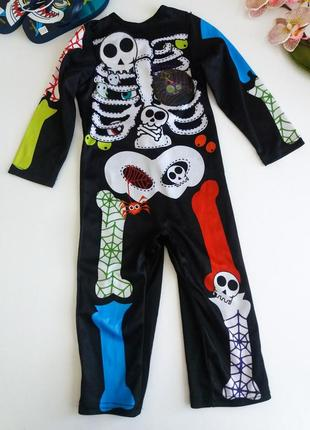 Костюм скелет на хеллоуин на 1-2 года 80-92см унисекс от tu