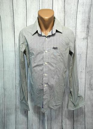 Рубашка стильная под запонки superdry, хлопок, отл сост!