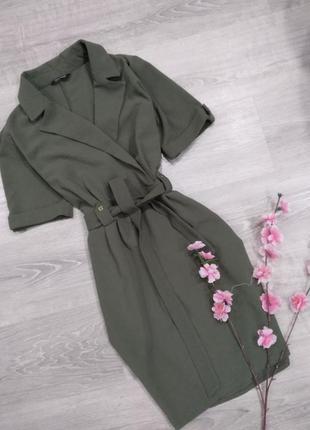 Шикарное трендовое платье назапах цвета хаки