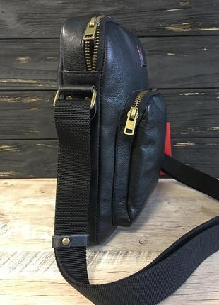 Мужская кожаная барсетка vittorio safino, чоловіча сумка через плечо5 фото