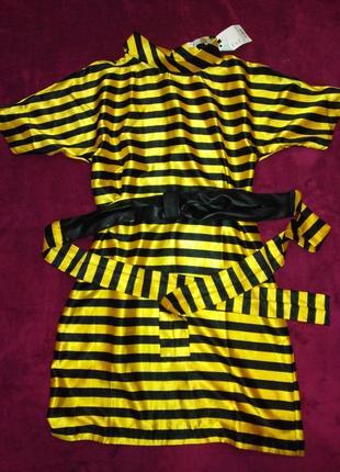 Платье атласное черно-желтое, m-l