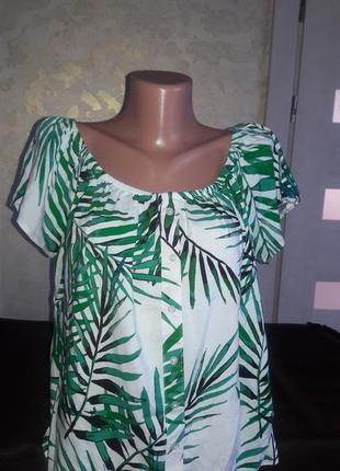 Блуза разлетайка растительный принт