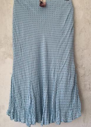 a85c3dfc061 Нежная голубая юбка годе из жатой вискозы в мелкий горошек